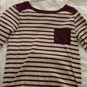Burgundy Striped quarter sleeve